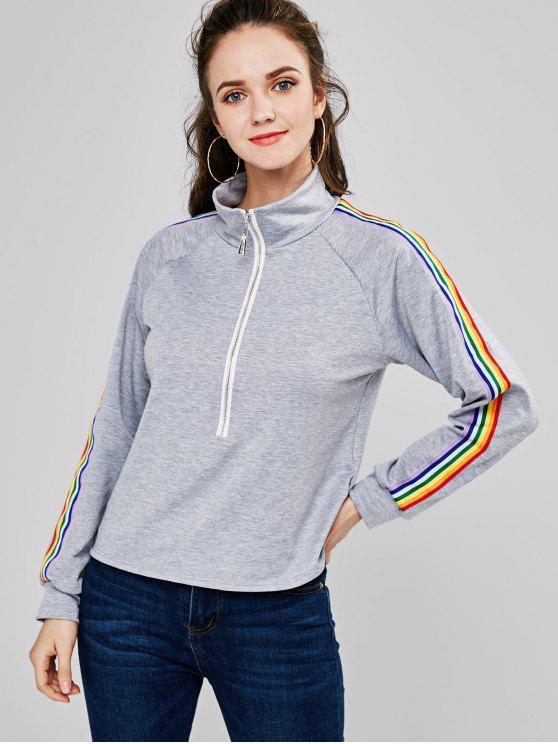 ZAFUL Sweat-shirt Arc-en-ciel Rayé à Demi-Zip - Gris Clair L