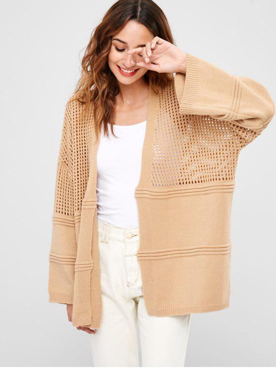 hot ZAFUL Collarless Openwork Tunic Cardigan - CAMEL BROWN ONE SIZE