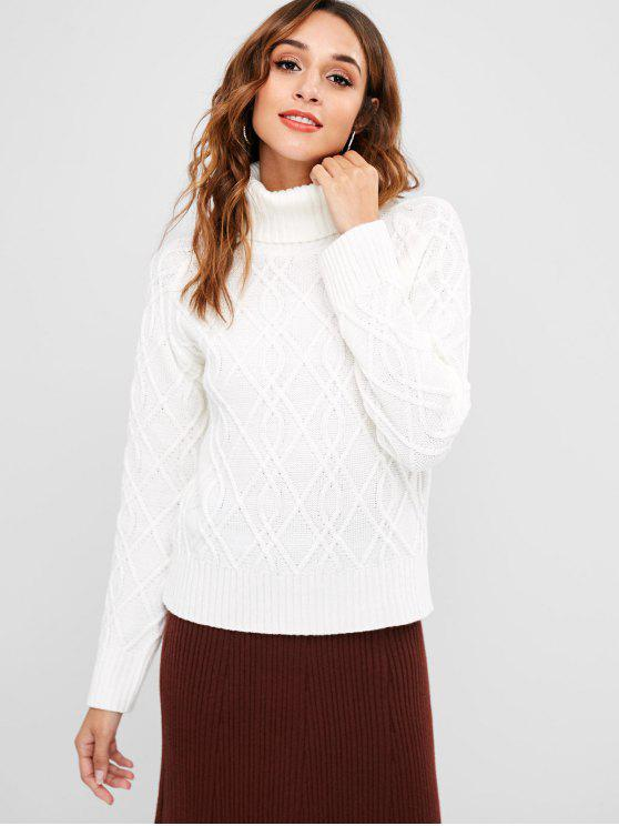 lady ZAFUL Turtleneck Cable Mixed Knit Sweater - WHITE M