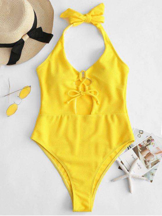 latest ZAFUL Lace-up High Cut Halter Knot Swimsuit - RUBBER DUCKY YELLOW M