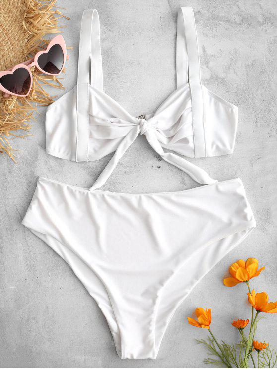 lady Ruched Knotted Bralette Bikini Set - WHITE S