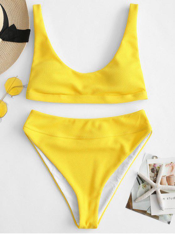 women ZAFUL High Cut Ribbed Tank Bikini Set - BRIGHT YELLOW M