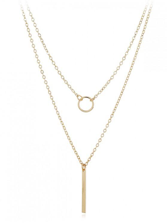 affordable Geometric Shape Layer Pendant Necklace - GOLD