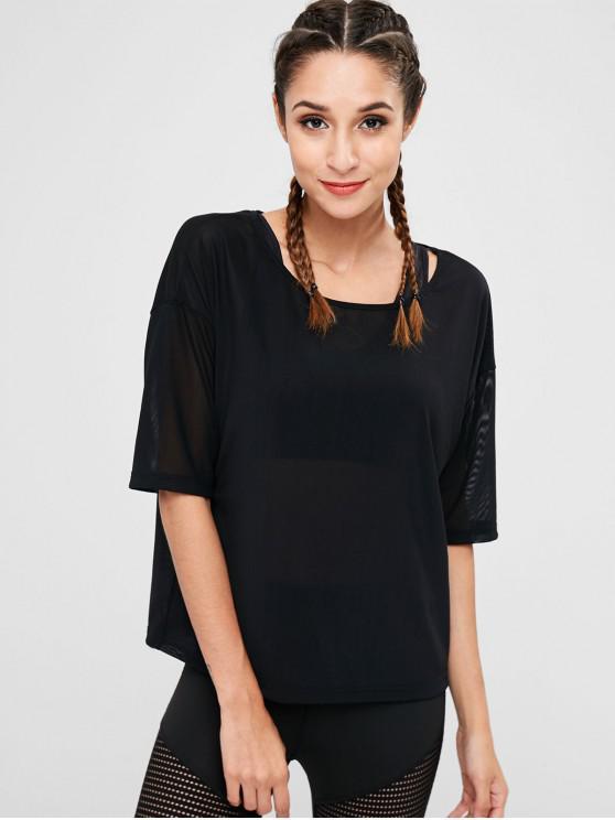 T-shirt Transparent à Epaule Dénudée - Noir L