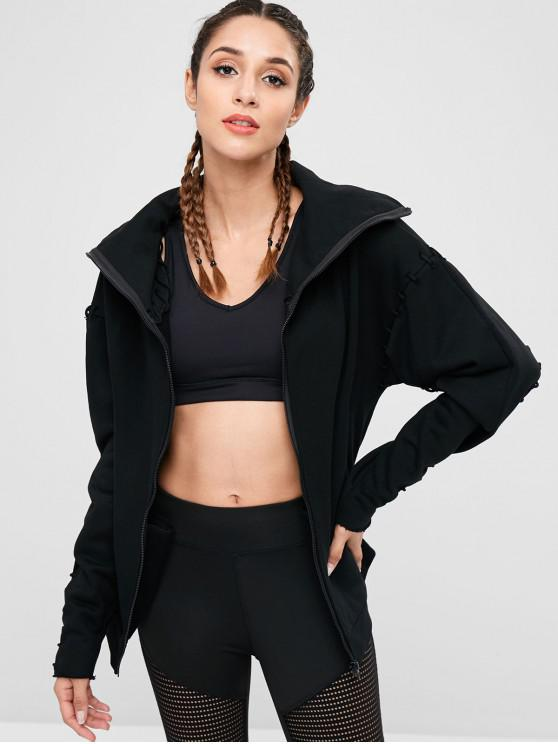 women's Drop Shoulder Lace Up Jacket - BLACK L