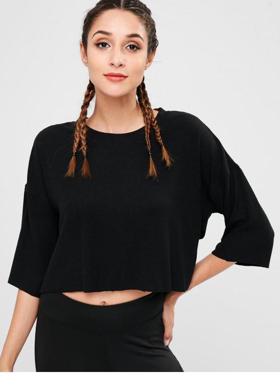 انخفاض Shouder انظر من خلال القميص - أسود M