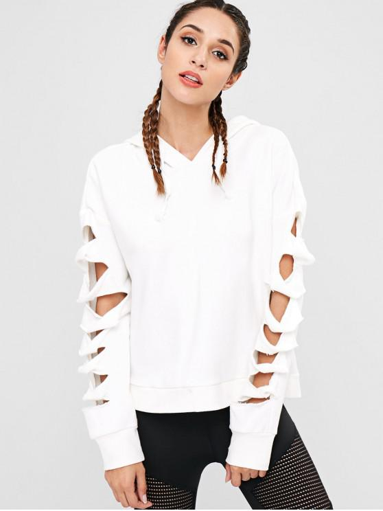 hot Cutout Drop Shoulder Hoodie - WHITE M