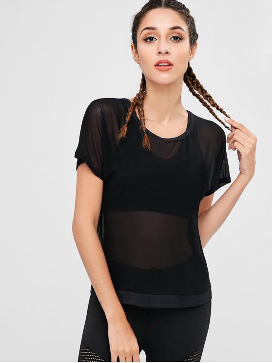 T-Shirt Tagliata Sportiva Con Pannello In Maglia - Nero M
