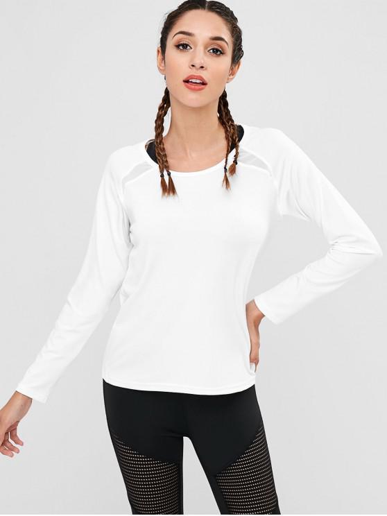 T-Shirt de Gym à Découpe avec Empiècements en Maille - Blanc M