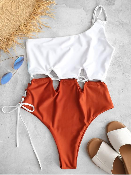 fashion ZAFUL Lace-up One Shoulder Swimsuit - WHITE S