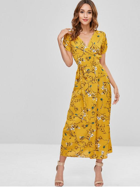 ladies Floral Wrap Dress with Ruched - YELLOW XL
