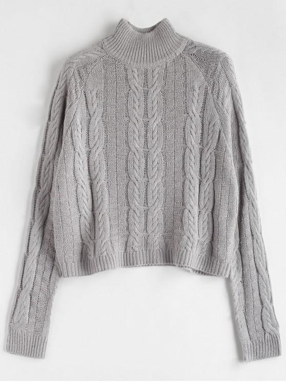 unique Cable Knit High Neck Sweater - GRAY ONE SIZE