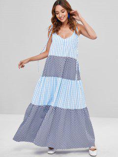 A Line Plaid Long Tie Shoulder Dress - Multi M