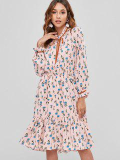 Ruffled Floral Long Sleeve Dress - Light Pink L