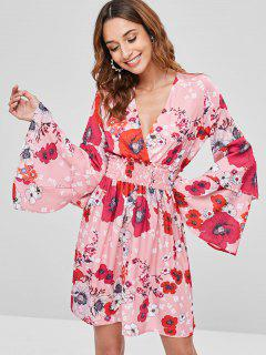 Shirred Floral Bell Sleeve Dress - Multi L