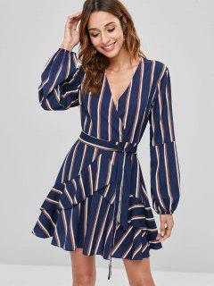Striped Surplice Ruffle Dress - Blue L