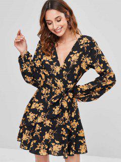 Floral Ruffle Surplice Dress - Yellow S