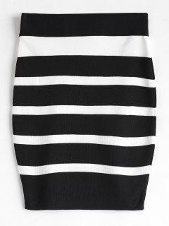 Striped Knit Bodycon Skirt - Black