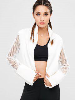 Fishnet Zipper Crop Jacket - White M
