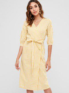 Plaid Mid Calf Wrap Dress - Mustard