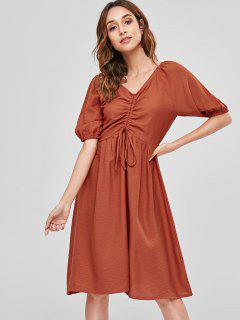 Drawstring A Line Casual Dress - Chestnut Red M