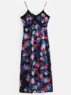 Floral Lace Trim Side Slit Cami Dress - Multi S