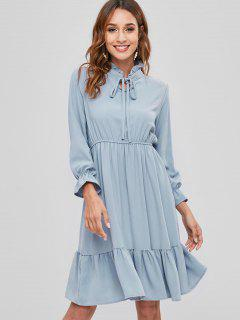 Ruff Collar Flounce Casual Dress - Blue Gray