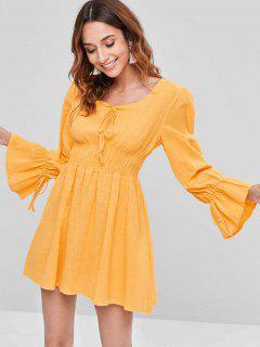 Smocked Long Sleeve Mini A Line Dress - Yellow S