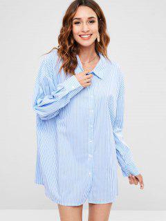 Robe Chemise Rayée à Manches Longues - Bleu Ciel