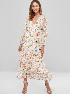 Vestido Largo Con Estampado Floral De Volantes - Blanco S