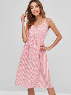 Striped Button Bowknot Cami Dress - Red M