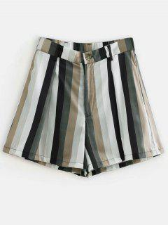 Zip Fly Striped Casual Shorts - Multi M