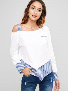 Striped Panels Cold Shoulder Sweatshirt - White