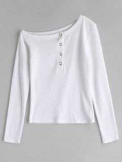 Long Sleeve Asymmetrical Ribbed T-Shirt - White S