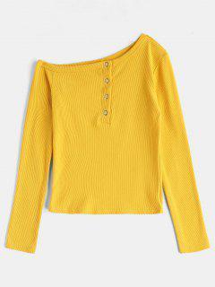 Long Sleeve Asymmetrical Ribbed T-Shirt - Yellow S
