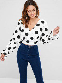 Polka Dot Surplice Top - White L