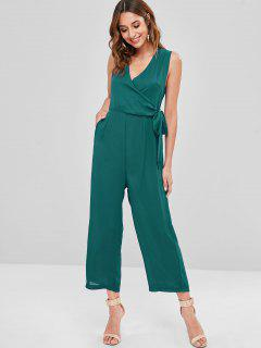 Tied Side V Neck Palazzo Jumpsuit - Deep Green L