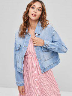 Light Wash Patch Pockets Boxy Denim Jacket - Blue M