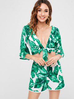 Leaves Print Knotted Shorts Set - Green S