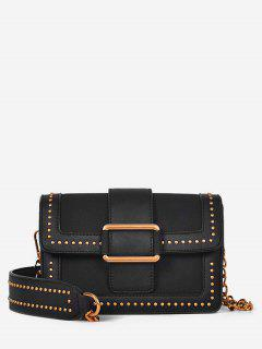 Buckle Panel Rivet Crossbody Bag - Black