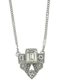 Collar De Cadena De Diamantes De Imitación De Forma Geométrica - Plata