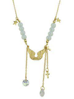 Collar De Cadena Colgante De Cruz De Cristal Artificial Del Ala - Oro