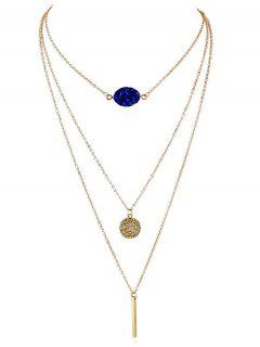 Artificial Gem Layered Chain Necklace - Blue