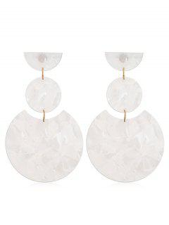 Round Design Simple Drop Earrings - White