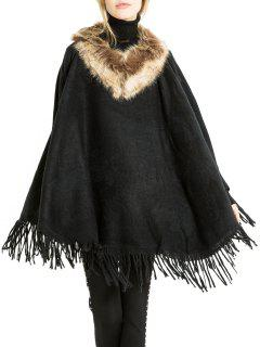Bufanda De Chal Con Flecos De Color Sólido De Invierno - Negro Un TamaÑo