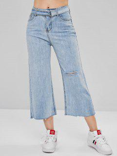 Wide Leg Raw Hem Ripped Jeans - Jeans Blue M