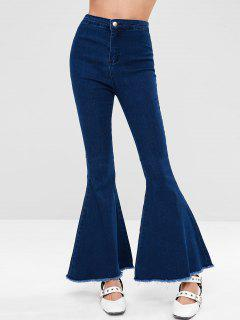 Dark Wash Frayed Hem Flare Jeans - Denim Dark Blue M