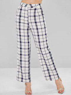 Plaid Wide Leg Pants - White M