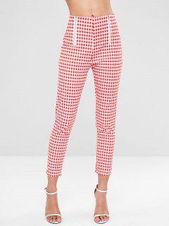 Pantalones De Cuadro Vichy Con Cremallera - Multicolor L