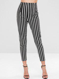 Zippered Striped Pants - Black L
